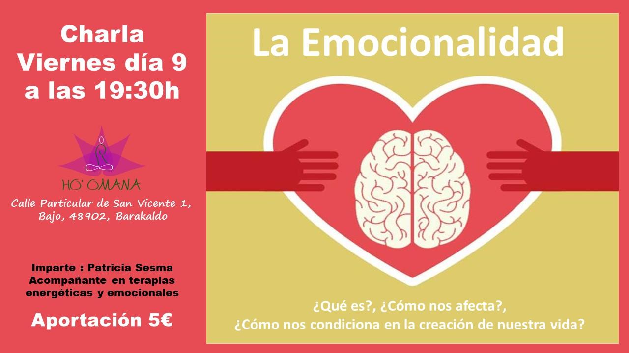 Cartel charla emocionalidad Centro Ho'Omana